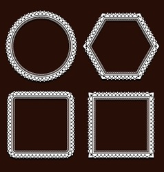 set of round frames on brown vector image vector image