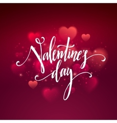 Shiny hearts bokeh Valentine day background vector image
