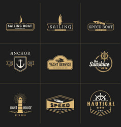 Yachting and sailing vintage logo template vector