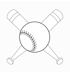Baseball bats and ball icon isometric 3d style vector image