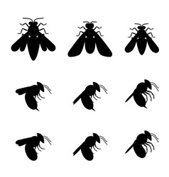 bee icons in silhouette top and side view vector image vector image