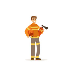 fireman character in uniform holding extinguisher vector image