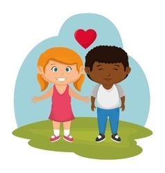 Little couple lovers icon vector