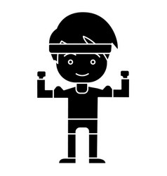man boy strong - hands up icon vector image