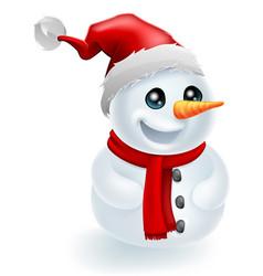 santa hat christmas snowman vector image vector image