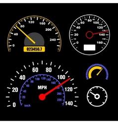 Speedometers Set on Black Background vector image vector image
