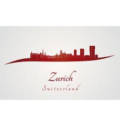 Zurich skyline in red vector image vector image