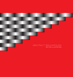 Abstract grey metal line woven on red blank vector