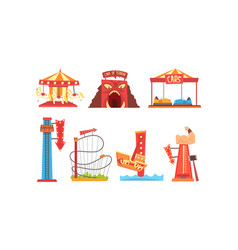 Amusement park with family attractions collection vector