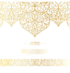 Arabesque eastern element vintage white and gold vector