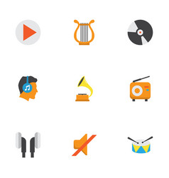 audio flat icons set collection of button band vector image