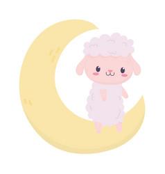 bashower cute sheep on moon decoration cartoon vector image