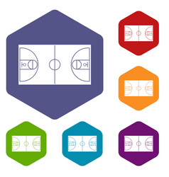 Basketball field icons set vector