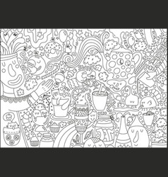 Big coloring page for children and adult with food vector