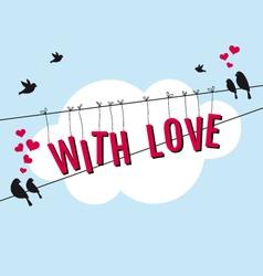 Birds in blue sky with love card vector