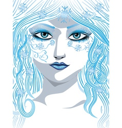 Blue winter girl vector image
