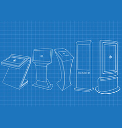 Blueprint of five interactive information kiosk vector