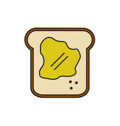 breakfast bread food thin line icon vector image