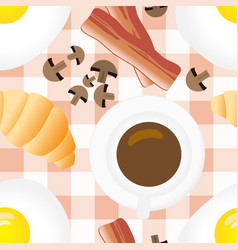 breakfast seamless pattern in flat cartoon style vector image