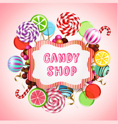 Candy shop background composition vector