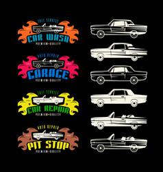 Car service emblems and design elements vector