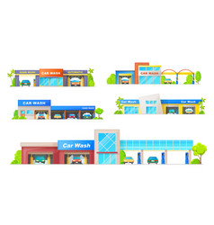 car wash buildings icons vector image