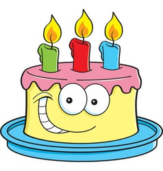 Cartoon Cake with Candles vector image