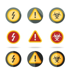Caution icons set - high woltage exclamation mark vector
