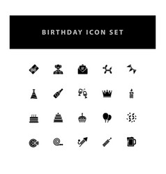 celebration birthday icon set with glyph style vector image