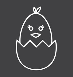 chick hatched from an egg line icon easter vector image