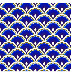 Chinese pattern blue and gold vector