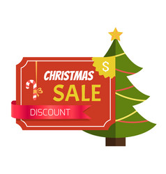 christmas sale discount label vector image