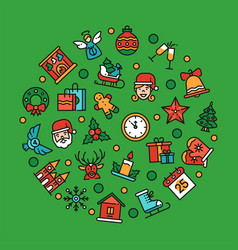 christmas symbols in circle shape linear vector image