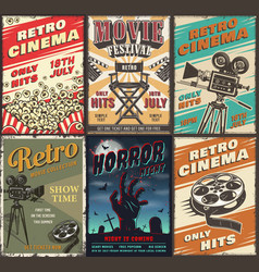 Cinema set of posters vector