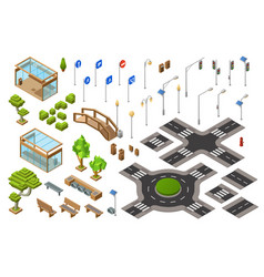 City road isometric 3d of vector