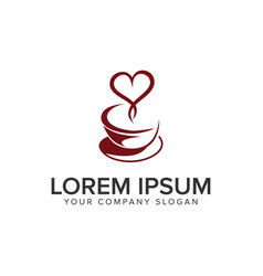 coffee love logo design concept template vector image