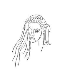 continuous one line beautiful woman face with long vector image