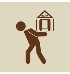Crisis economy bank concept icon design vector