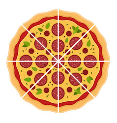 Cut pepperoni pizza flat isolated vector