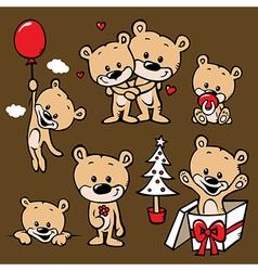 cute bear family cartoon vector image