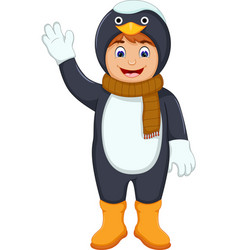 cute boy cartoon with penguin costume vector image