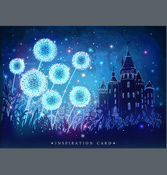 dandelions with magical lights vector image