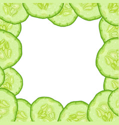 Decorative frame from cucumber slice vector