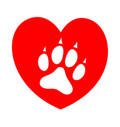 dog paw on red heart conceptual image vector image