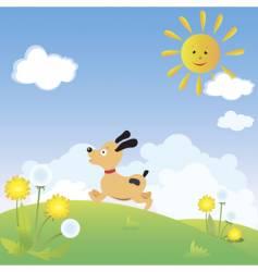 dog playing vector image