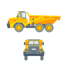 Dumper truck side view and front view vector