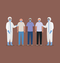 Elders men with masks and doctors with protective vector