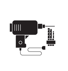 electric drill black concept icon electric vector image