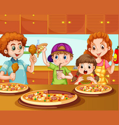 Family having pizza in kitchen vector