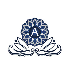 flower elegant icon initial a vector image